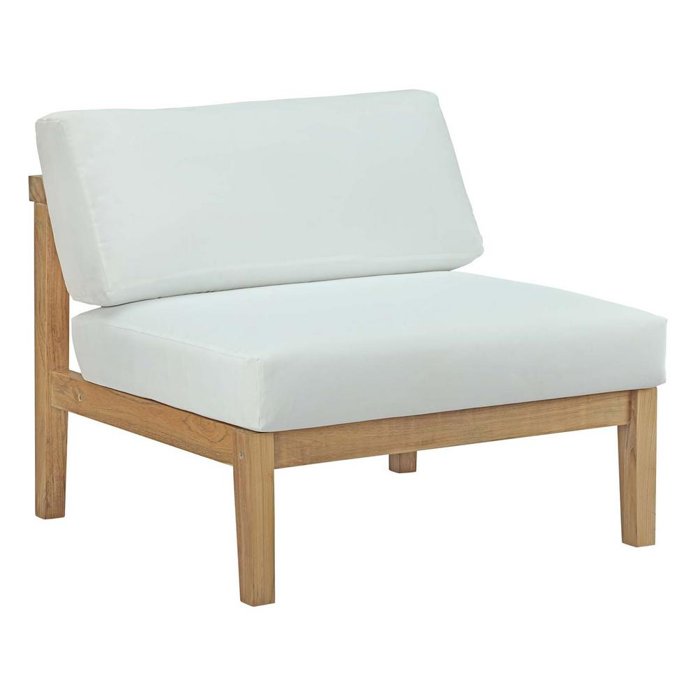 MODWAY Bayport Patio Teak Outdoor Armless Lounge Chair in Natural with White Cushions