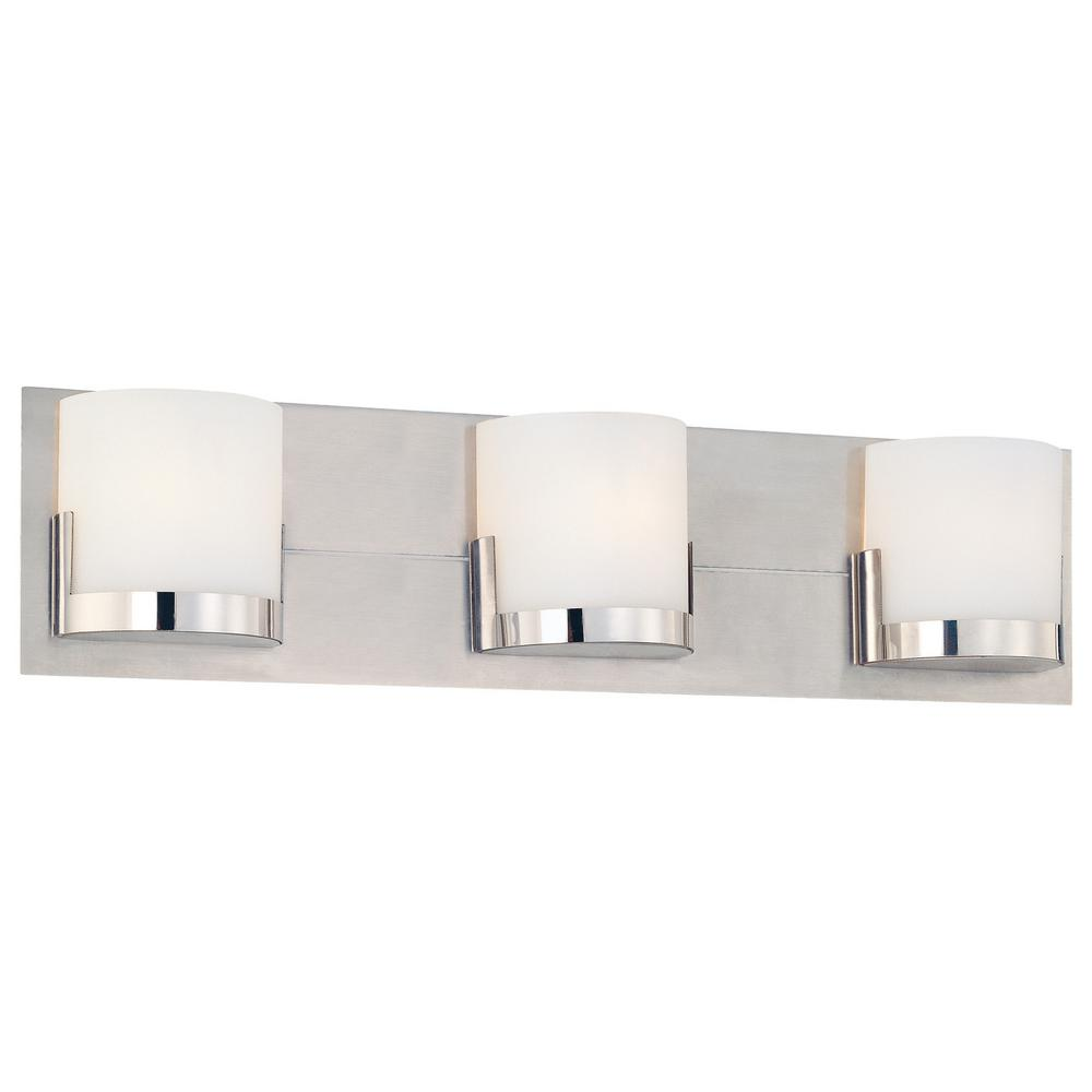 Convex 3-Light Chrome Glass Holders with Brushed Aluminum Backplate Bath Light