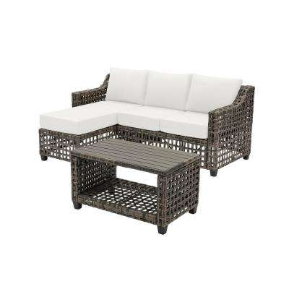 Briar Ridge 3-Piece Brown Wicker Outdoor Patio Sectional Sofa with CushionGuard Chalk White Cushions