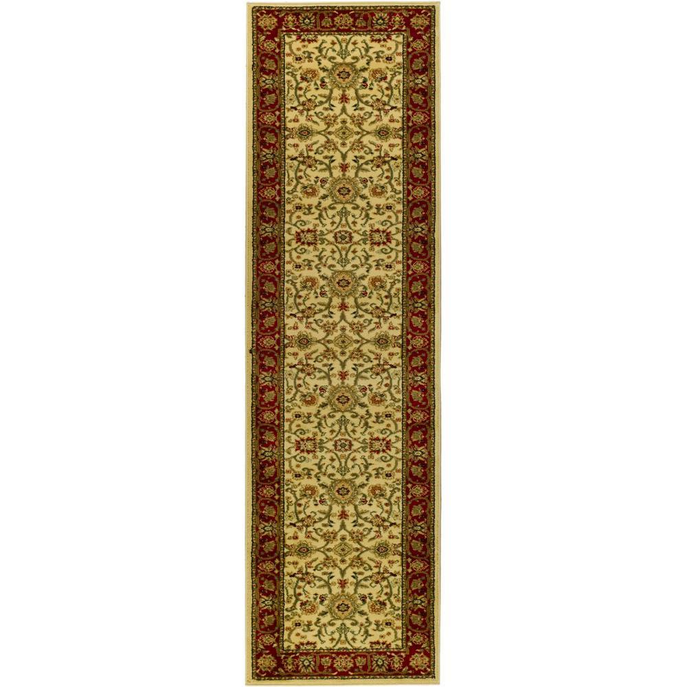 Lyndhurst Ivory/Red 2 ft. 3 in. x 14 ft. Runner
