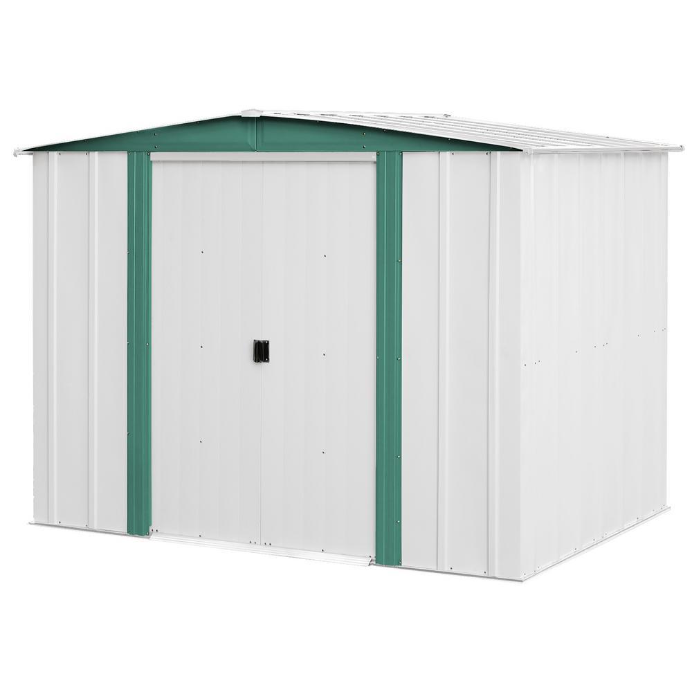 Arrow Hamlet 8 Ft W X 6 Ft D 2 Tone White Galvanized Metal Storage Shed