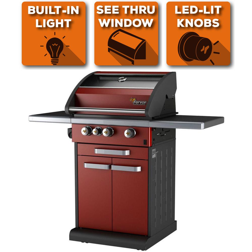 3-Burner Liquid Propane Fingerprint Resistant Grill with Warming Drawe in Red