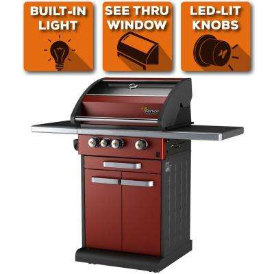 3-Burner Liquid Propane Fingerprint Resistant Grill with Warming Drawe in Red with See-Thru Glass Panel, 10 Yr Warranty