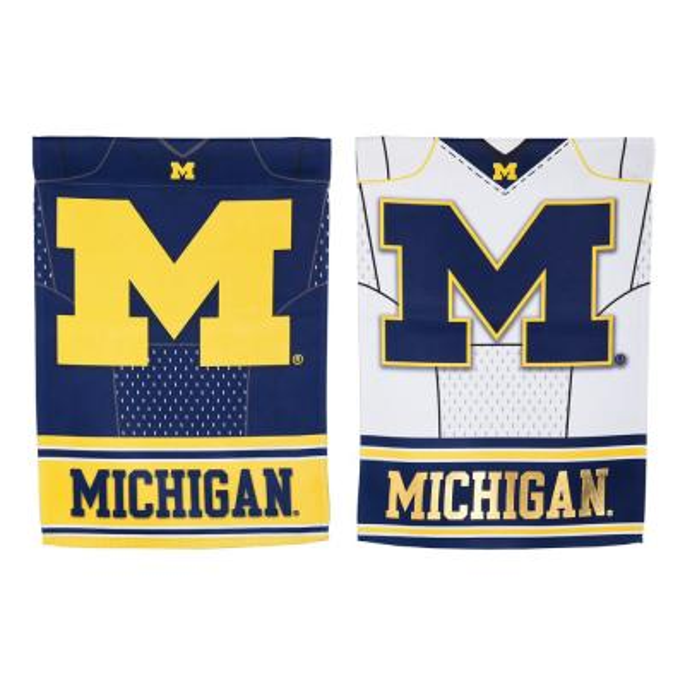 Evergreen 1-1/24 ft. x 1-1/2 ft. University Of Michigan 2-Sided Jersey Garden Flag