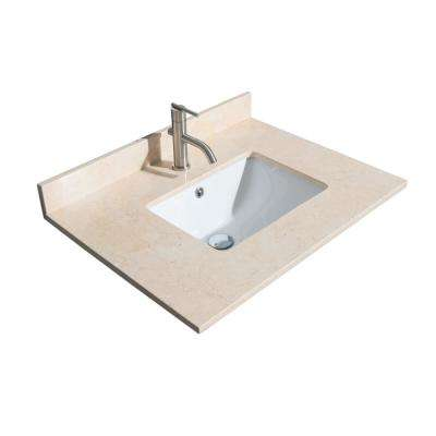 Acclaim 30 in. W x 22 in. D Marble Single Basin Vanity Top in Beige with White Basin