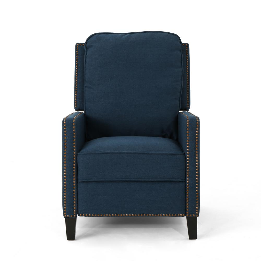 Noble House Cecelia Traditional Navy Blue Fabric Push Back Recliner with Stud Accents, Navy Blue/Dark Brown was $309.61 now $203.08 (34.0% off)