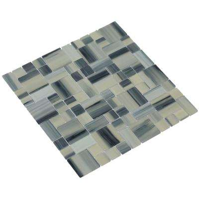Stella/04, Creamy Yellow with Gray Overtones, 4 in. x 4 in. x 4 mm Glass Mesh-Mounted Mosaic Tile, Tile Sample