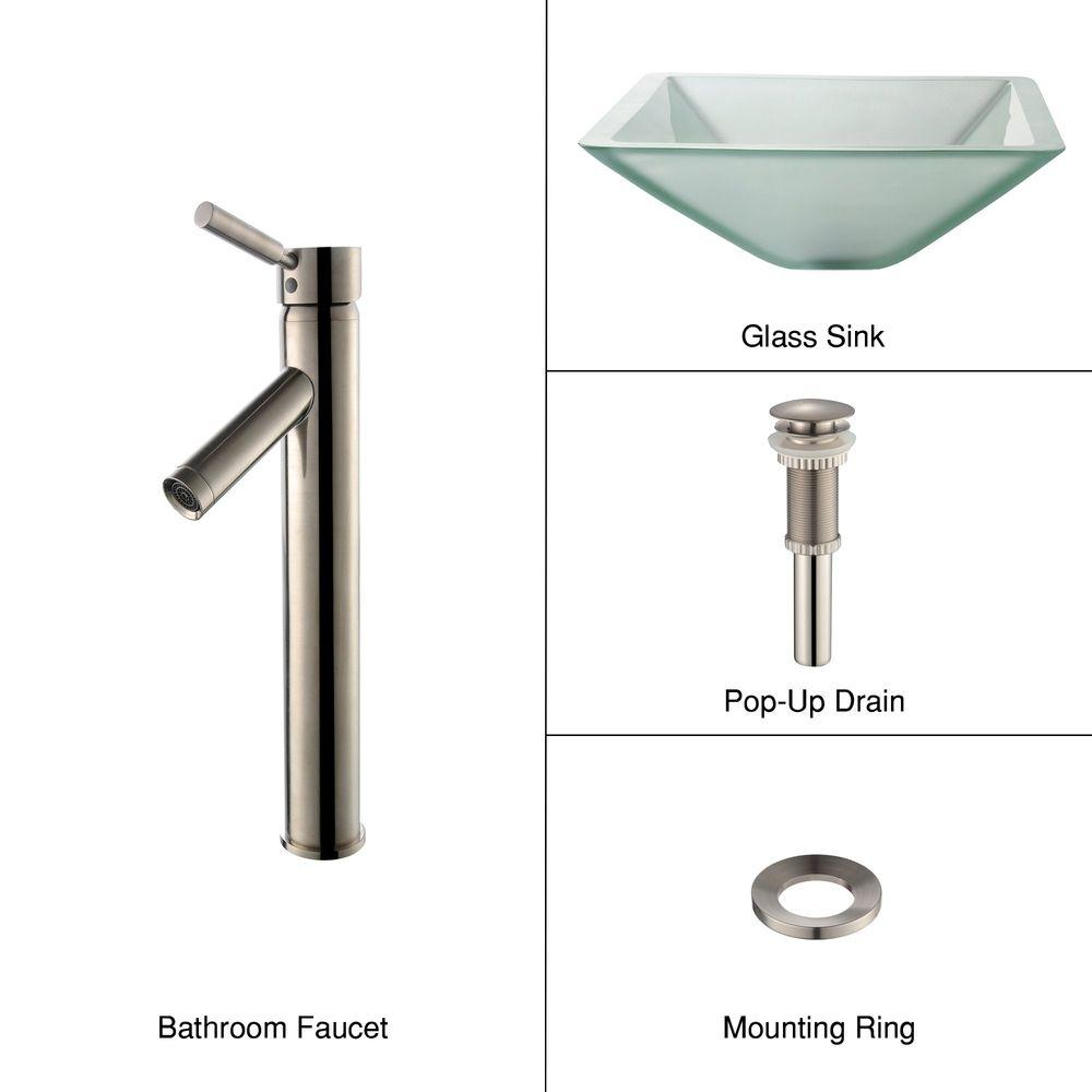 KRAUS Glass Bathroom Sink in Frosted Aquamarine with Single-Handle Low-Arc Sheven Faucet in Satin Nickel-DISCONTINUED