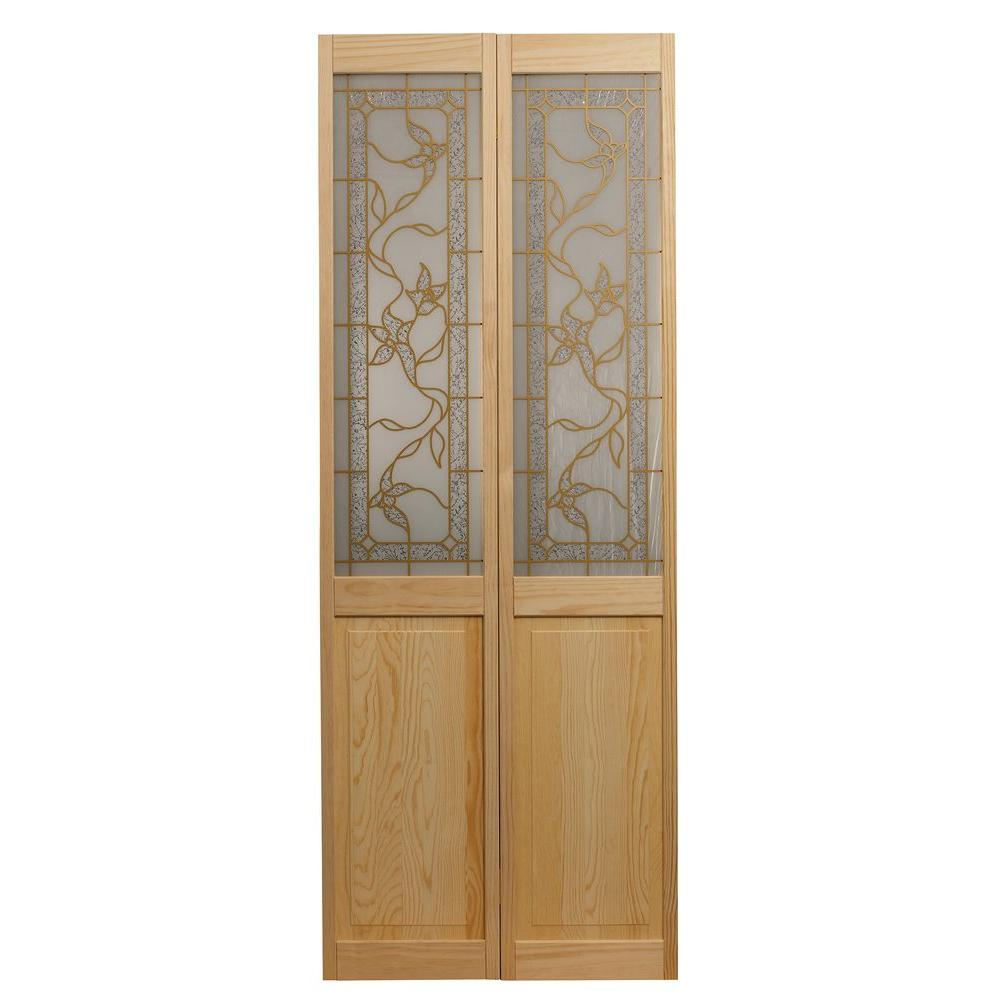 Pinecroft 32 in. x 80 in. Glass Over Panel Universal/Reve...