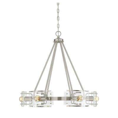 6-Light Satin Nickel Chandelier with Clear Curved Beveled Glass