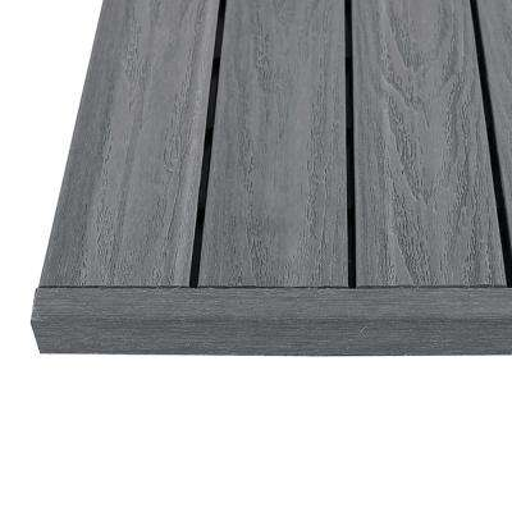 1/6 ft. x 1 ft. Westminster Gray Quick Deck Composite Deck Tile Straight End Fascia (4-Piece/Box)
