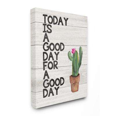 "16 in. x 20 in.  ""Today Is A Good Day Cactus Succulent Watercolor"" by Jo Moulton Canvas Wall Art"