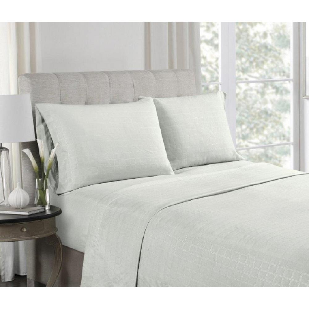 4-Piece Grey Embossed Microfiber Queen Sheet Set