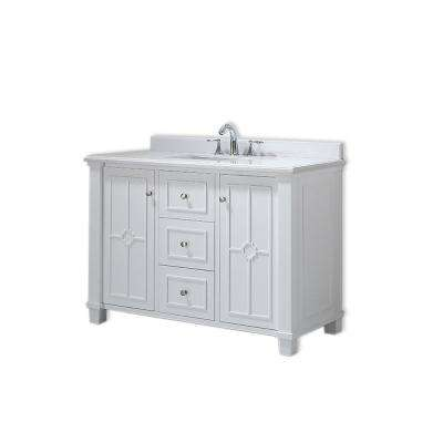 Positano 48 in. W x 22 in. D Vanity in White with Marble Vanity Top in Yves with White Basin