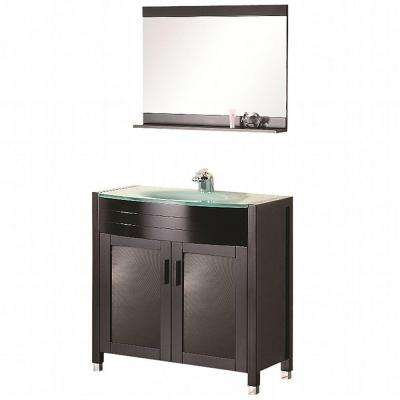 Prestige 36 in. W x 20 in. D Vanity in Espresso with Glass Vanity Top and Mirror in Mint
