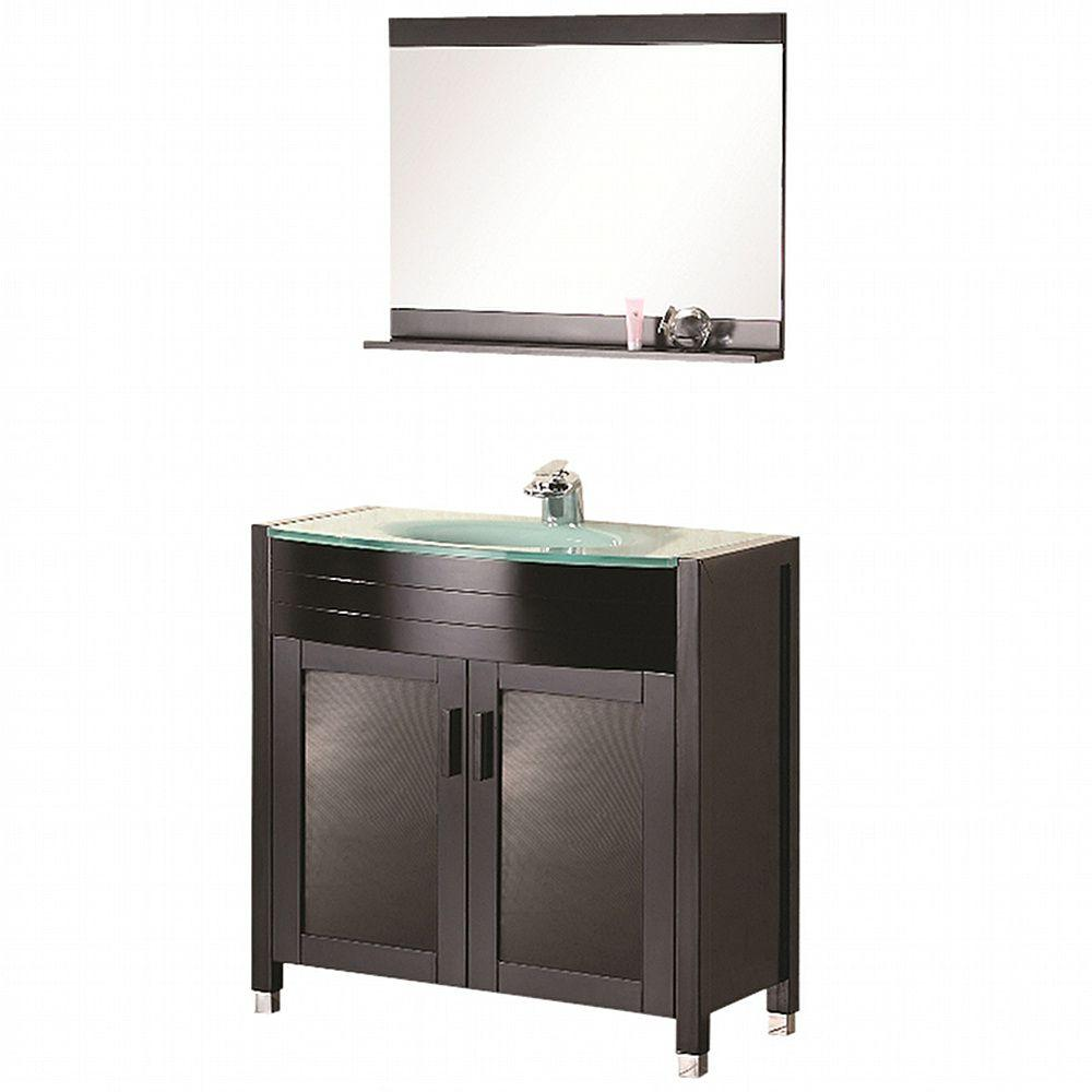 Design Element Prestige 36 in. W x 20 in. D Vanity in Espresso with Glass Vanity Top and Mirror in Mint