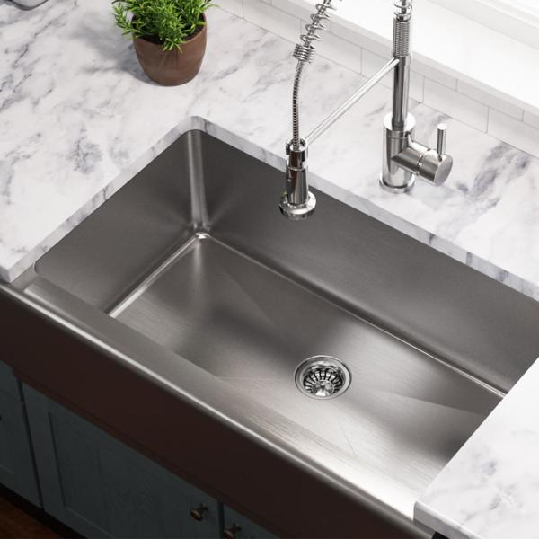 Mr Direct Farmhouse Apron Front Stainless Steel 33 In Single Bowl Kitchen Sink 405 The Home Depot
