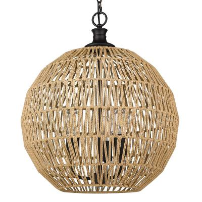 Florence 3-Light Matte Black Globe Pendant with Natural Raphia Rope Shade