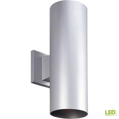 2-Light Metallic Gray Integrated LED 14 in. Outdoor Wall Mount Cylinder Light