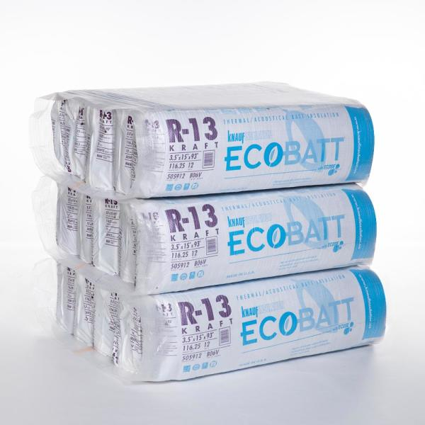 R-13 EcoBatt Kraft Faced Fiberglass Insulation Batt 15 in. x 93 in. (15-Bags)