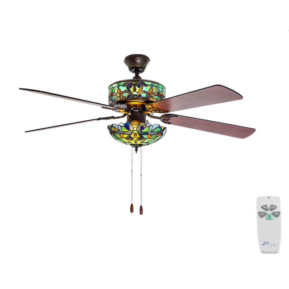 Ceiling Light Teal: River Of Goods 52 In. Indoor Teal Ceiling Fan With Light
