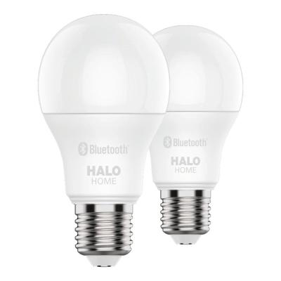 60W Equivalent A19 Dimmable Adjustable CCT (2700K-5000K) Smart Wireless LED Light Bulb in White by HALO Home (2-Pack)