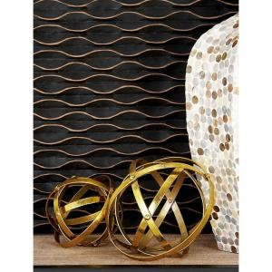 Round Iron Metal Gold Folding Orbs Sculptures (Set of 3) by