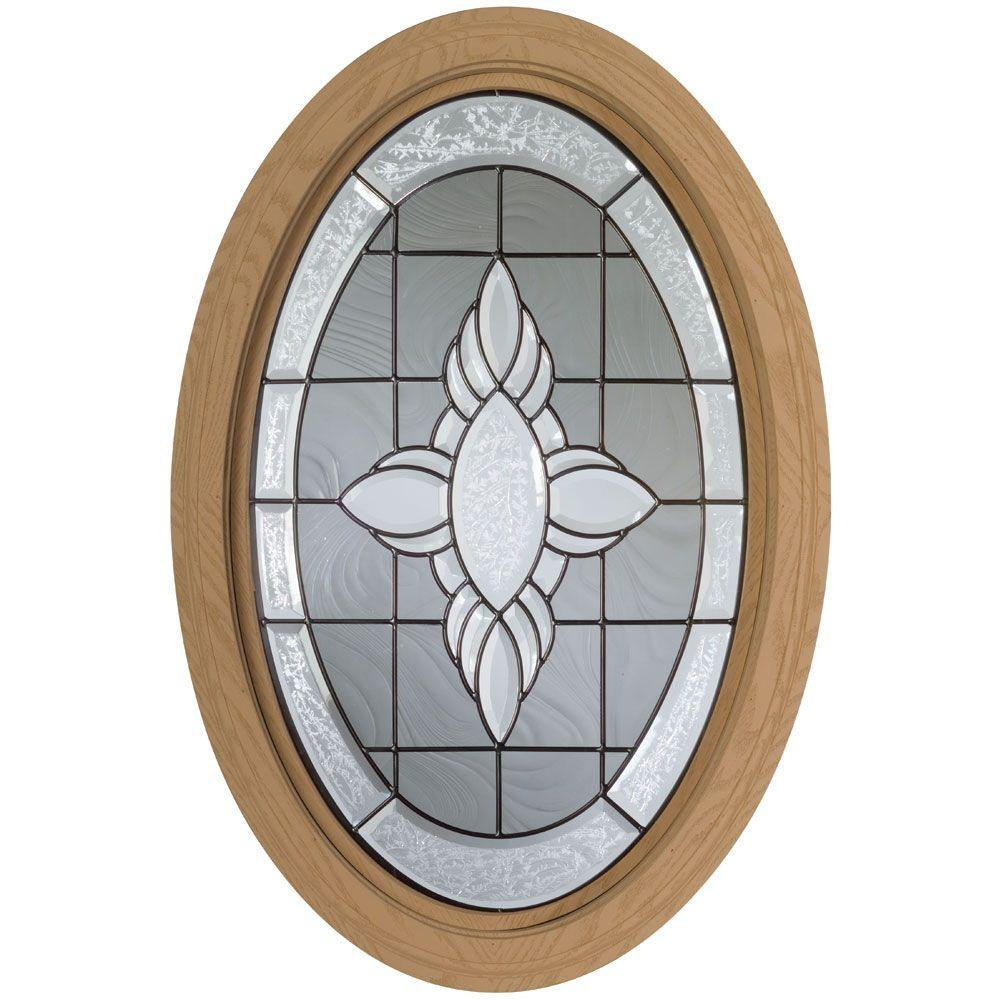 Century Polyurethane Windows, 20-3/4 in. x 32 in., Primed, Rough Opening, with Insulated Victorian Leaded Glass-DISCONTINUED