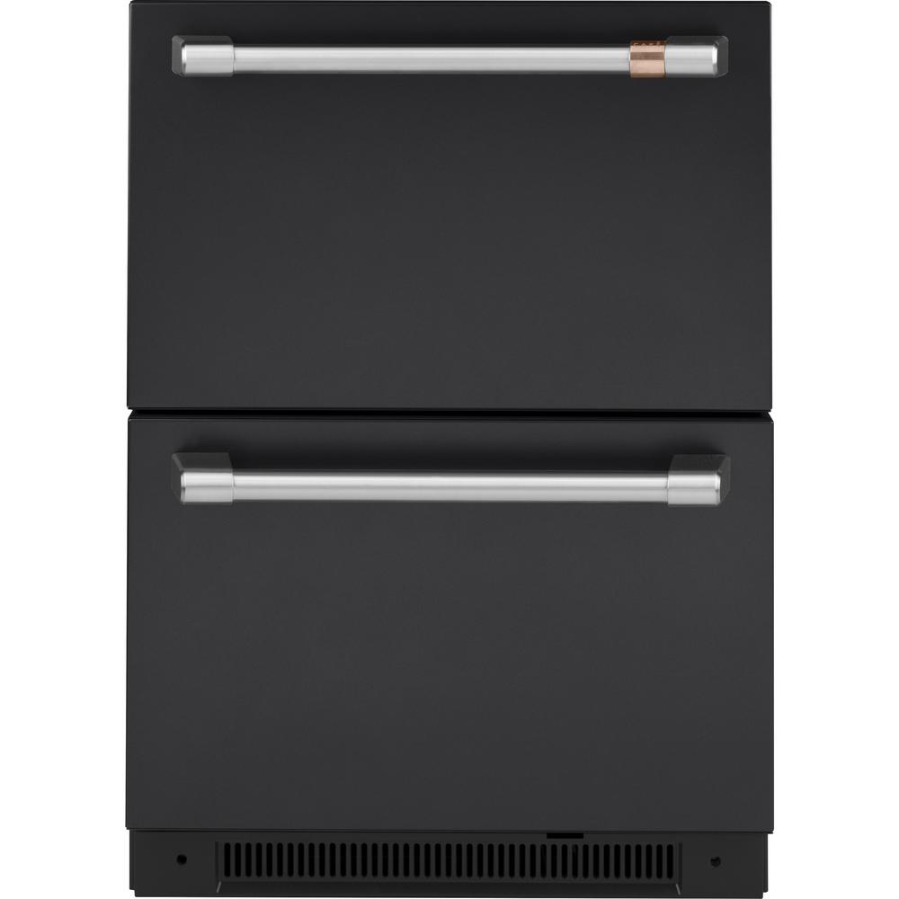 Cafe 5.7 cu. ft. Built-in Undercounter Dual-Drawer Refrigerator in Matte Black, Fingerprint Resistant