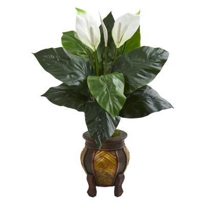 Indoor Spathiphyllum Artificial Plant in Decorative Planter