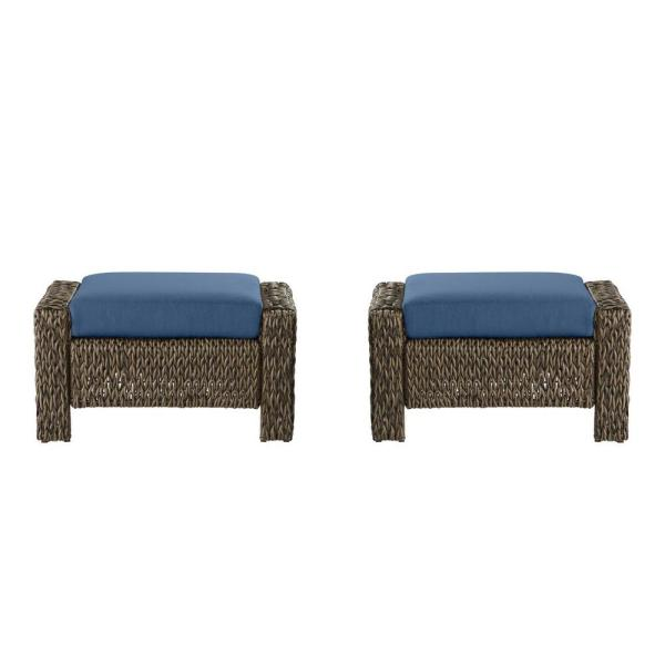 Laguna Point Brown Wicker Outdoor Patio Ottoman with CushionGuard Sky Blue Cushions (2-Pack)