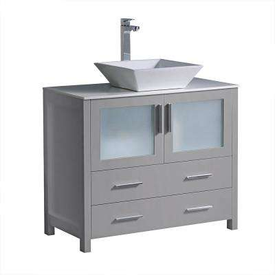 Torino 36 in. Bath Vanity in Gray with Glass Stone Vanity Top in White with White Vessel Sink