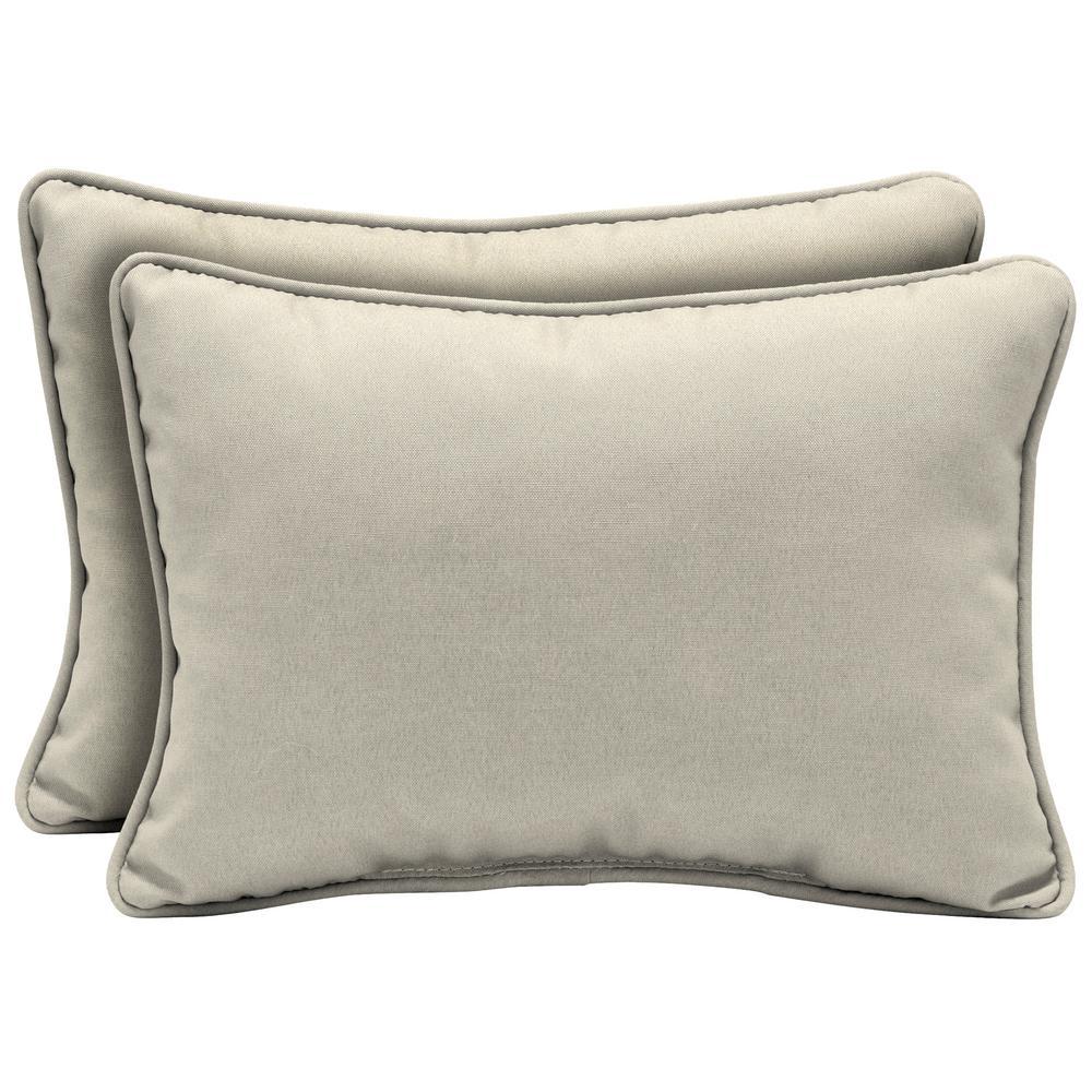 Arden Selections 22 x 15 Sand Canvas Texture Oversized Lumbar Outdoor Throw Pillow (2-Pack)