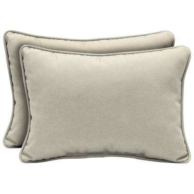 22 x 15 Sand Canvas Texture Oversized Lumbar Outdoor Throw Pillow (2-Pack)