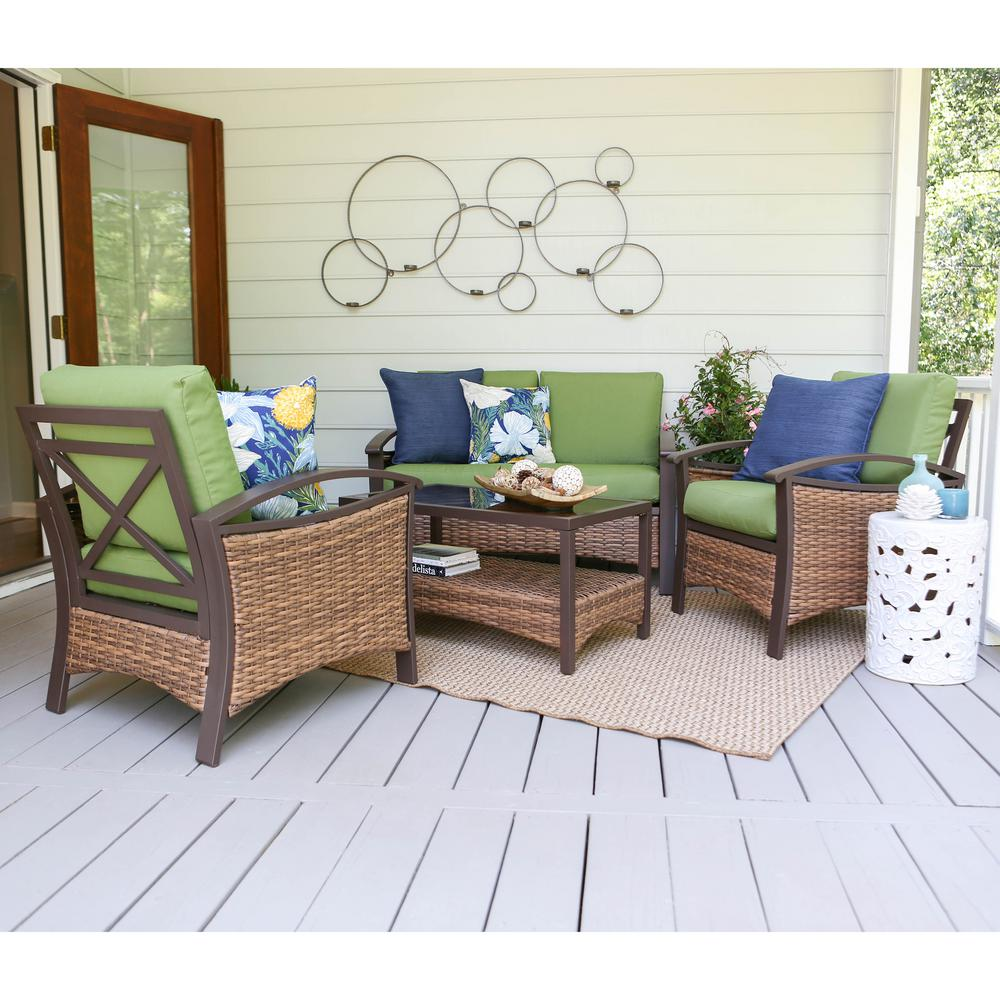 Thompson 4 Piece Wicker Patio Conversation Set With Green Cushions