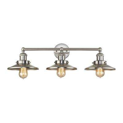 English Pub 3-Light Satin Nickel Vanity Light