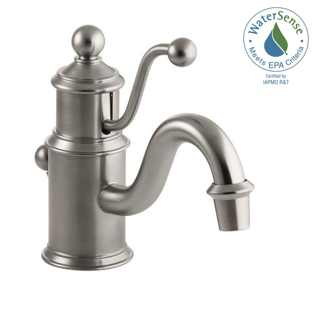 Antique Single Hole Single Handle Low-Arc Water-Saving Bathroom Faucet in