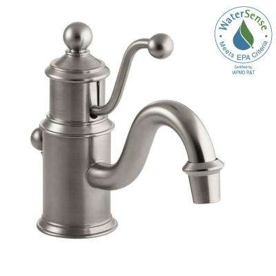 Antique Single Hole Single Handle Low-Arc Water-Saving Bathroom Faucet in Vibrant Brushed Nickel