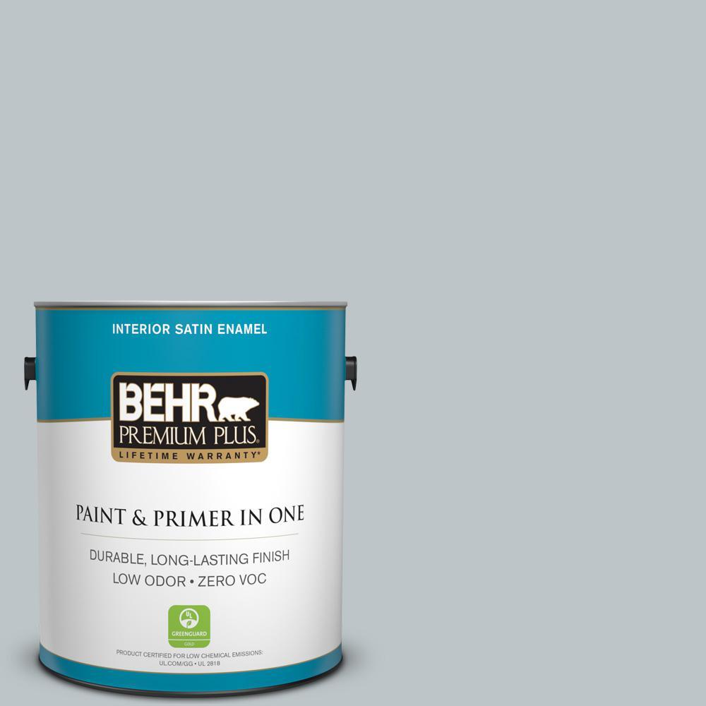 1 gal. #PPU12-10 Misty Morn Zero VOC Satin Enamel Interior Paint