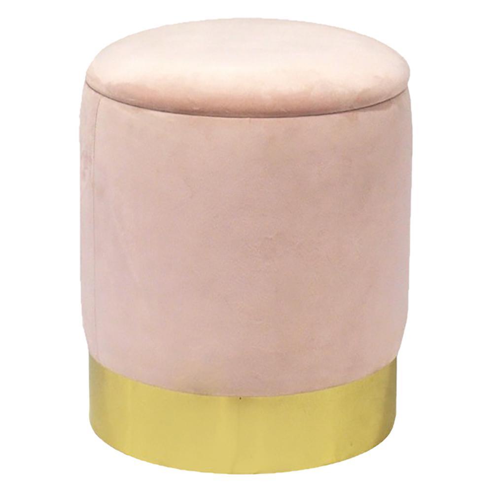 Pink Velvet Round Storage Ottoman