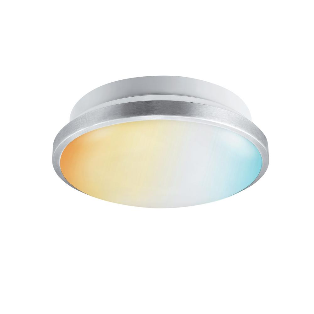 GLOBEELECTRIC Globe Electric 14 in. Dimmable Selectable LED Integrated Flush Mount Light with Adjustable Color Temperature DuoBright Technology
