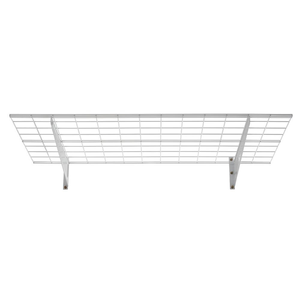 48 in. W White Wire 2-Shelf Garage Wall Storage System