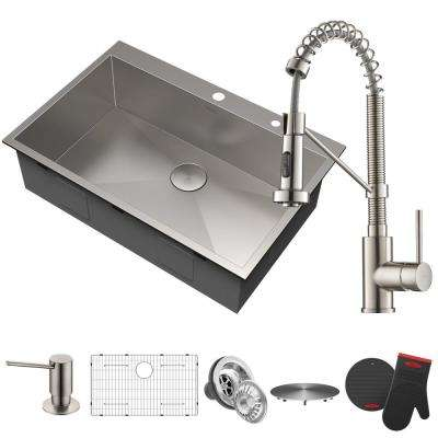 All-in-One Drop-In Stainless Steel 33 in. 2-Hole Single Bowl Kitchen Sink with Faucet and Dispenser in Stainless Steel