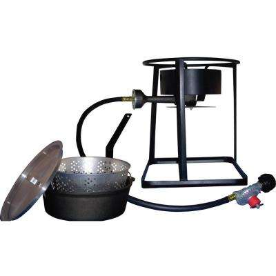54,000 BTU Portable Propane Gas Outdoor Cooker with Cast Iron Dutch Oven and Aluminum Lid
