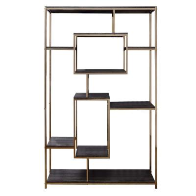 72 in. H Gold and Dark Gray Etagere Bookshelf with 9 Shelves and Geometric Pattern