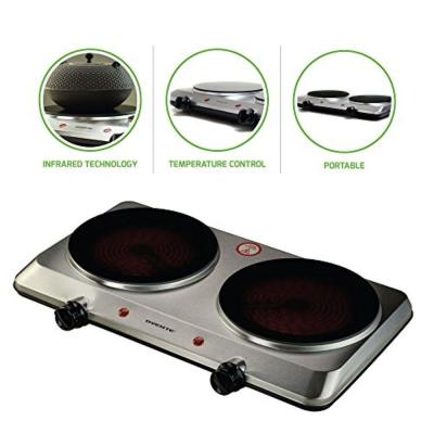 Double Burner 18 in. Silver Hot Plate with Temperature Control and Non-Slip Feet