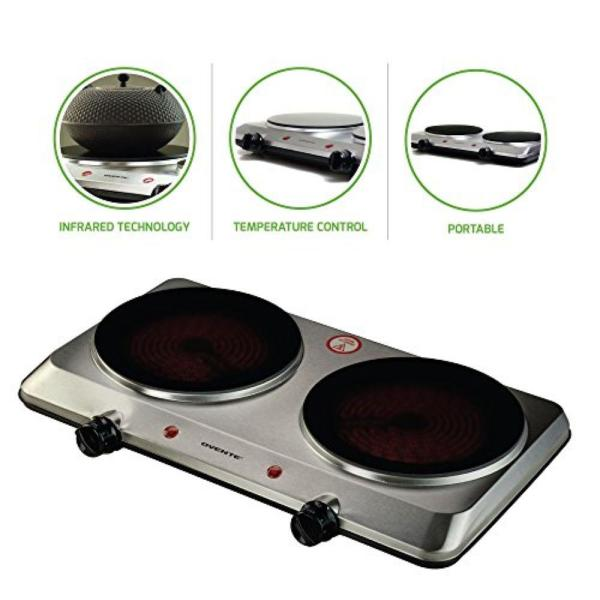 Double Burner 7.5 in. Silver Hot Plate with Temperature Control and Non-Slip Feet