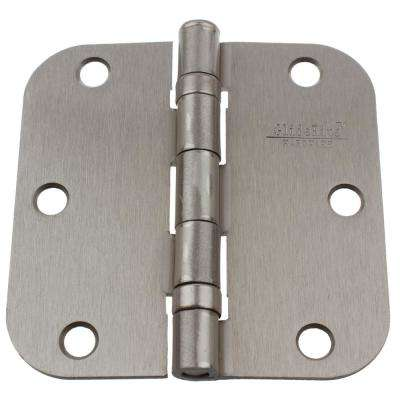 3-1/2 in. Satin Nickel Steel Ball-Bearing Door Hinge 5/8 in. Corner Radius with Screws (12-Pack)