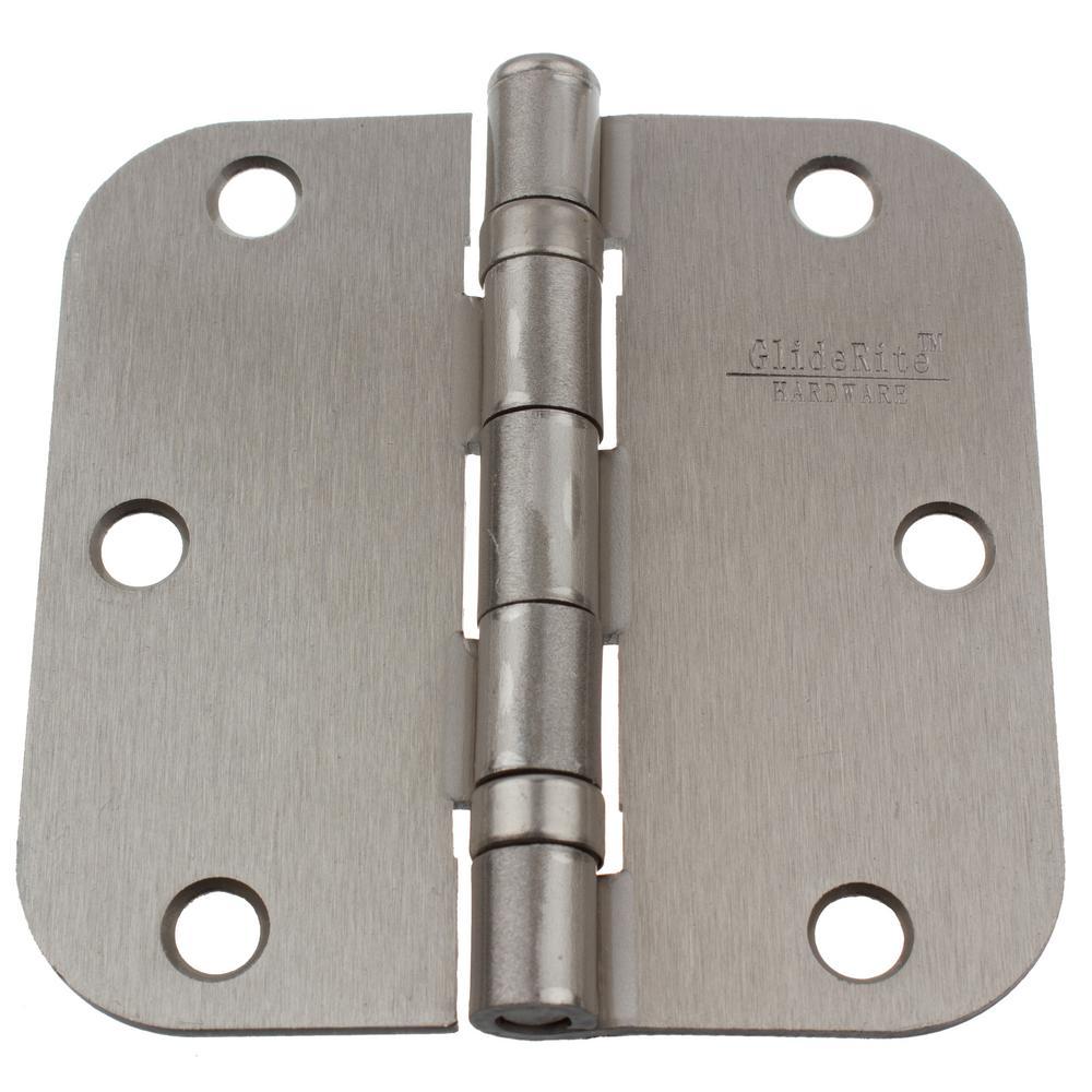 3-1/2 in. Satin Nickel Steel Ball-Bearing Door Hinge 5/8 in. Corner Radius with Screws (12-Pack)