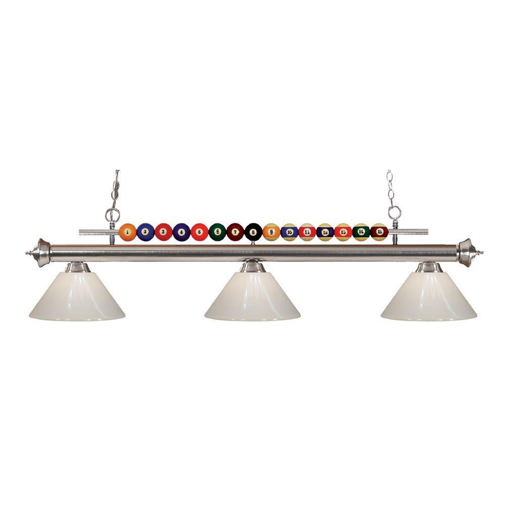 Kerstin 3-Light Brushed Nickel Billiard Light